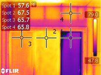 Infrared heat loss image for window without Solarize Window Insulator