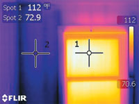 Infrared heat loss image for window with Solarize Window Insulator